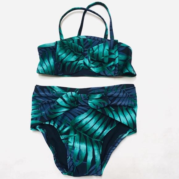 30be59f6b887f OshKosh B'gosh Swim | New Genuine Kids Girls Tropical Leaf Bow ...